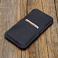 Case for iPhone XS Max cover wallet with credit card pocket, grey Crazy Horse leather, sleeve pouch shell, also great fits 8 Plus, 7 Plus, 6/6s Plus