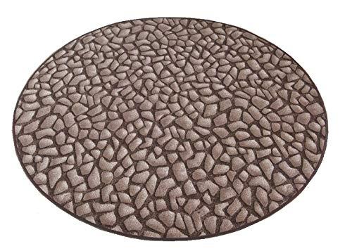 havatex Kinderteppich Hot Stone rund - Farbe: Braun | schadstoffgeprüft pflegeleicht |schmutzresistent strapazierfähig |Küche Kinderzimmer Spielzimmer, Farbe:Braun, Größe:133 cm rund