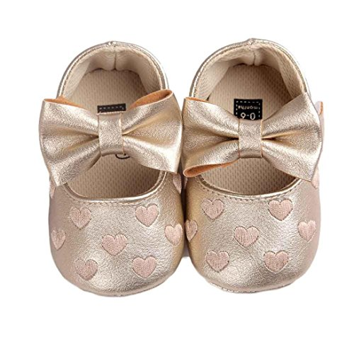 Clode® Baby Girl bowknot Chaussures en cuir Sneaker anti-dérapant souple Sole Toddler (6~12 Mois, Rose) Or