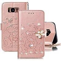 JJWYD Funda para Samsung Galaxy S8, Brillo Billetera Libro PU Cuero Bling Diamante Mariposa Diseño Carcasa Soporte Plegable Ranuras para Tarjetas Cierre Magnético Funda - Oro Rosa