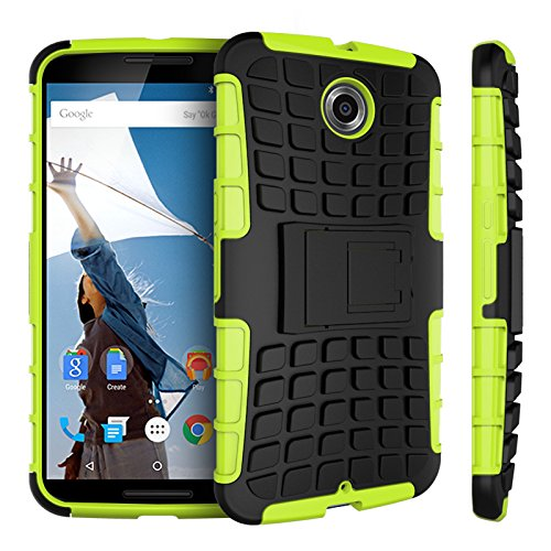 Motorola Nexus 6 Kasten, CaseFirst Reifenstreifen Hybrid Combo Shockproof Rüstung Robuste Dual Layer Case Cover mit Kickstand für Motorola Nexus 6 (Grün)