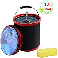 Cubo plegable Cubeta de agua portátil Multiuso - Apto para acampar, Deportes al aire libre, Uso doméstico, Cubo de agua para lavado de autos - Ligero y fácil de transportar (12L Rojo)