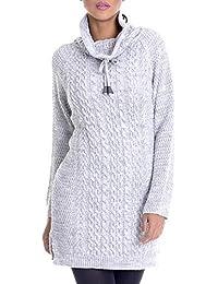 2d38cd3ac15b LEIF NELSON Damen Strick-Pullover   Frauen Basic Strick-Pulli mit  Schalkragen   Damen Woll-Hoodie Langarm-Sweatshirt Kleidung Frauen…