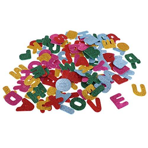 Sharplace 200 Stück Glitzernde Aufkleber Herz/Schmetterlinge/Zahlen/Buchstaben Stickter Set für Kinder Handwerk Dekoration - Buchstaben