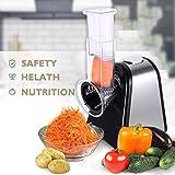 Tomasa Elektrischer Gemüsehobel mit 5 Raspel | Küche Gemüsehobel Edelstahl Salatschneider Home Salatzerhacker Elektrohobel/Multifunktionsreibe Gemüse Raspel