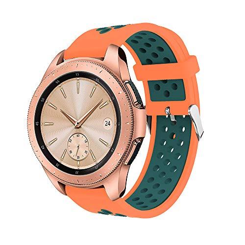 Uhrenarmband Serie Lederarmband Ersatband Mit Edelstahl Metall Schließe Classic Armband Ersatz Band ,Doppelte Farbe Sport Silikon Armband Strap Band für Samsung Galaxy Watch 42mm(A)