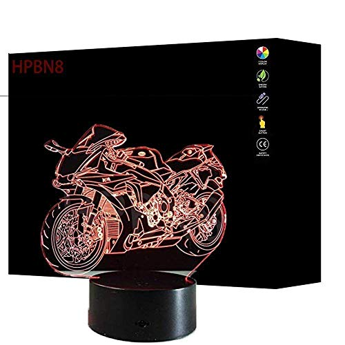 HPBN8 3D Motorrad Lampe USB Power 7 Farben Amazing Optical Illusion 3D wachsen LED Lampe Formen Kinder Schlafzimmer Nacht Licht.