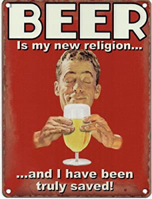 Beer is my new religion and I have been truly saved Metal Sign Nostalgic Vintage Retro Advertising Enamel Wall Plaque 200mm x 150mm - inexpensive UK light store.