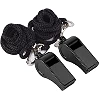 2 Pack Plastic Sports Coach Whistles with Lanyard