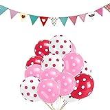 Unicoco Luftballons Punkt 12 Zoll Latex Ballons mit Bunte Fahnen Kinder Geburtstag Hochzeit Party Dekoration 100 pcs (Rose Rot + Rosa+Weiß)