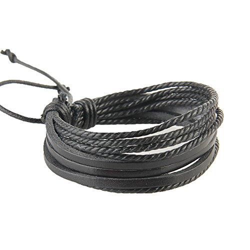 fablcrew 1PCS Damen Mode Schöpfer Armband Leder schwarz Kette Schmuck für Frauen Geschenk 19cm