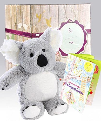 Warmies Set regalo-Peluche koala con profumo di lavanda cuscino termico + pregiata confezione regalo + con libretto di emozionanti storie per bambini