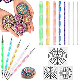 AUSHEN Mandala Dotting Tools for Painting Rocks 16pcs with Stencil Set Mandala Dotting Kit for Painting and Drawing