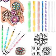 AUSHEN Mandala - Juego de herramientas para pintar las rocas (16 piezas, con plantillas