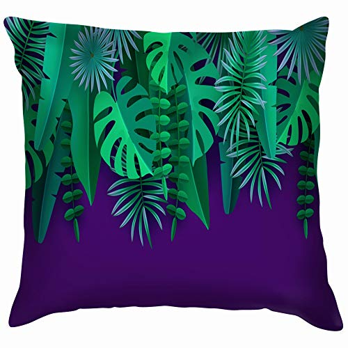 beautiful& Green Tropical Leaves Plants Isolated On Nature Paper Cotton Throw Pillow Case Cushion Cover Home Office Decorative, Square 18X18 Inch
