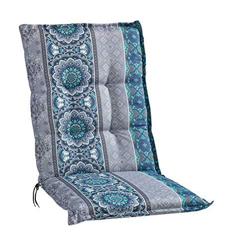 Sesselauflage Sitzpolster Gartenstuhlauflage für Mittellehner | 50 cm x 110 cm | Petrol | Mandalamotiv | Baumwolle | Polyester