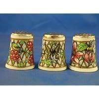 Porcelana China colección de dedales de tres tapas de oro de enrejado