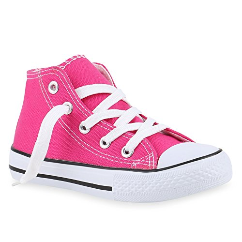 Kinder Turnschuhe Sneakers Schnürschuhe Sportschuhe High Top Pink