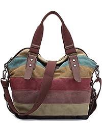 KAUKKO Stylish Women's Canvas Multi-Color Shopper Tote Shoulder Bag