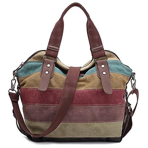 Damen Handtasche,KAUKKO Multi Color Striped Canvas Damen Handtasche Damen Wildleder Schultertasch Umhängetasche Für Frauen und