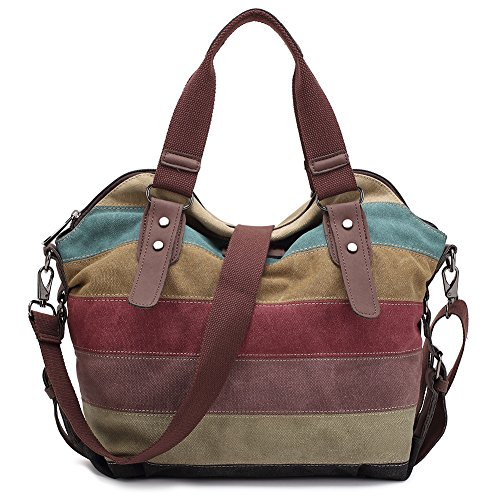 Damen Handtasche,KAUKKO Multi Color Striped Canvas Damen Handtasche Damen Wildleder Schultertasch Umhängetasche Für Frauen und Mädchen -