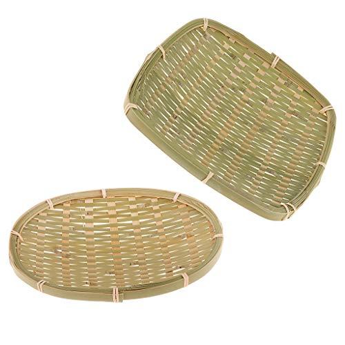 F Fityle Satz Von 2 Stücken Bambus Tablett Chinesischen Traditionellen Bambus Servierteller Für Obst, Gemüse, Brot, Gewürze -