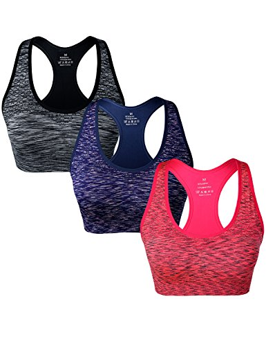 Match Damen Draht nahtlose doppellagige gepolsterte Racerback Sport-BH fuer Yoga Workout Gym #004 1 Paket von 3(Schwarz-Blau-B Orange)