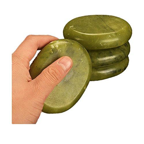 Juego de 2 piedras calientes de masaje de jade verde natural para spa, terapia de masaje, 6 x 8 cm