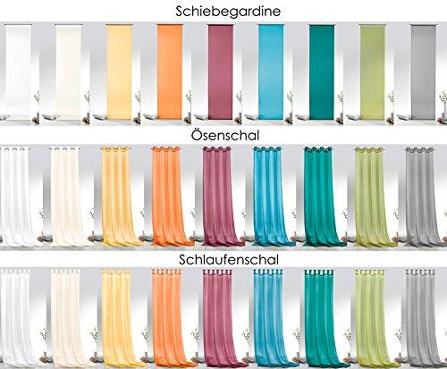 Fashion&Joy – Voile einfarbig als Schiebevorhang Ösenschal oder Schlaufenschal – 9 Farben – transparent Gardine Typ418