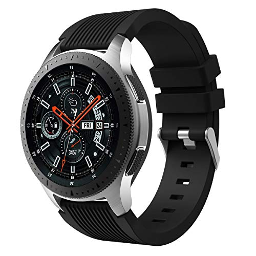 XIHAMA Armband für Samsung Galaxy Watch (42 mm 46 mm) aus Silikon Ersatzarmbänder für Fitness Sport Smartwatch (46mm, schwarz) - 46 Silikon