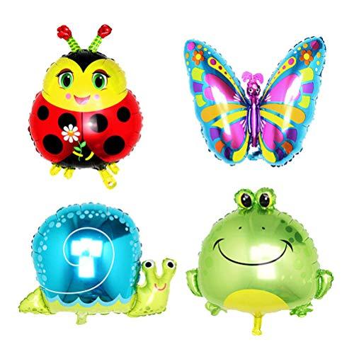 YEAHIBABY Tier Luftballons,Aluminiumfolie Tier Ballons für Baby Dusche Tiere Thema Geburtstag Party Dekorationen,4 Stück (Frosch Schmetterling Schnecke Marienkäfer)