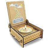 CANDLE in the BOX für Sternenkinder | Trauerkerze in Holzbox mit Spruch | Personalisiert mit Namen | Mond Blau | Gedenkkerze | Andenken