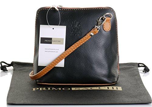 Italienische Leder, klein/Micro Black und Tan Cross Bodybag oder Umhängetasche Handtasche.Beinhaltet eine schützenden Aufbewahrungstasche. (Mit Reißverschluss Schwarz Italienisches Leder)