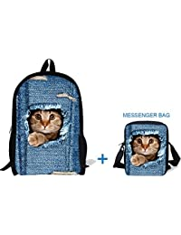 "ThiKin 17"" Cute Cat School Bag Backpack With 9"" Crossbody Bag Messenger Bag For Kids - B074QH18XP"
