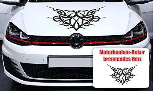 Autoaufkleber Brennendes Herz für Motorhaube - Farbe frei wählbar