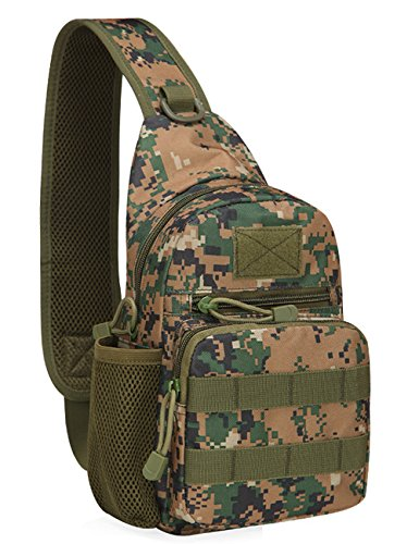 Menschwear Schleuder Tasche Chest Pack,Multiple Storage Zweck Umhängetasche Tragen Styles Grün Tarnung 4
