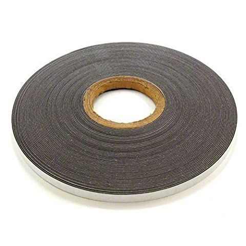 first4magnets 1 Metre of 12.7mm Wide Adhesive Gloss White Ferrous Strip
