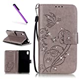 EMAXELERS Sony Xperia M4 Aqua Case Hülle Bling Cristall Glitzer Butterfly Slim Stand Ledertasche Wallet Case mit Standfunktion Karteneinschub,Gray Butterfly with Diamond