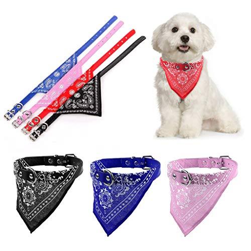 Leder Halstuch (Lamdoo Fütterung Lätzchen Für Hunde Einstellbar Haustier Hund Katze Welpen Halstuch Bandana mit Leder Halsband Halstuch RS)