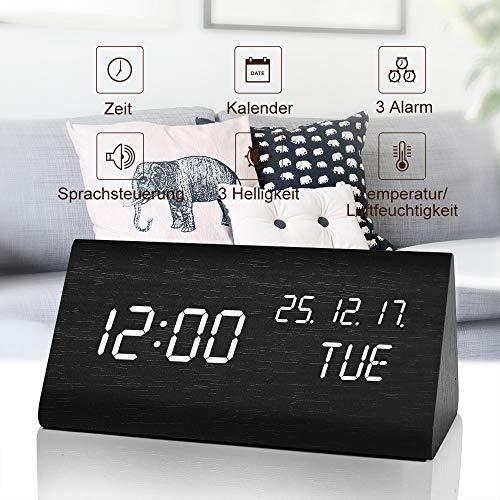 fomobest LED Wecker Digital Wecker Wiederaufladbar Holz Tischuhr Datum/Temperatur Anzeige Schwarz