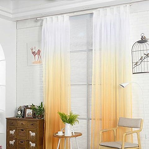 Hoomall Décoration de Fenêtres Rideau à Pattes Rideau Chambre Couleur Blanc Jaune Dégradé Polyester 140x245cm 1 PC
