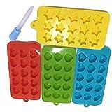 4pcs silicona Candy moldes & Ice Cube bandejas para obtener una crema libre de silicona, libre de BPA para niños adultos hacer Candy, Cubito de hielo, GOMINOLA, Chocolate, Gelatina 2 Hearts+Stars+Shells Shape+1 Silicone Dropper
