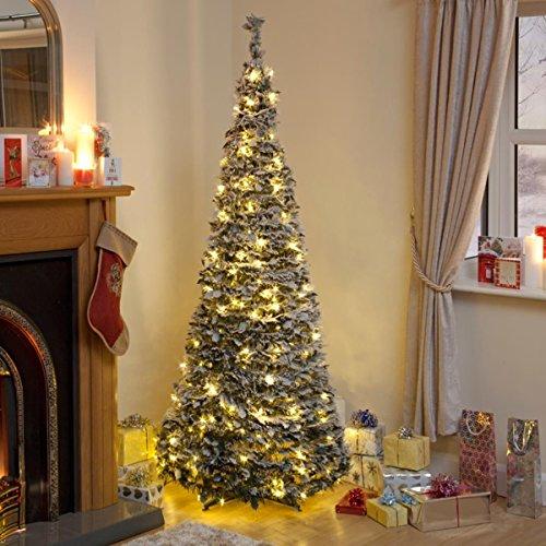 Weihnachtsbaum mit Beleuchtung und künstlichem Schnee, 1,8m (200warm-weiße Lichter)