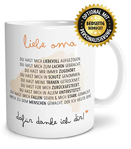 OWLBOOK Danksagung Oma große Kaffee-Tasse mit Spruch im Geschenkkarton schöne Geschenkidee Geschenke für Deine Großmutter