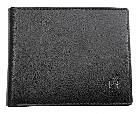 StarHide Men's High Quality Soft Black Mint Green Real Leather Wallets With ID Window & Coin Pocket Tri-fold Wallet (Black / Green) -