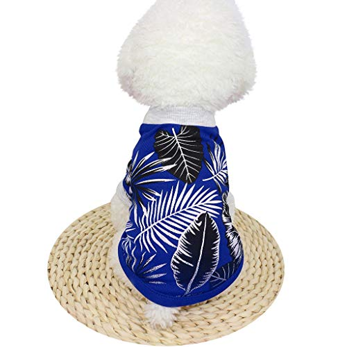 BOLUBILUY Hawaiian Strandweste für kleine Welpen und Katzen, süßes Hunde-T-Shirt, ärmelloses Top, Sommerbekleidung, L, dunkelblau -