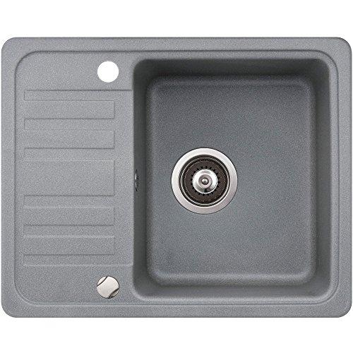 Spüle Granit Verbundspüle Küchenspüle Einbauspüle Auflage 575 x 460 mm eckig kleine Ablage Spülbecken + Drehexcenter + Siphon