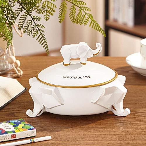Joeesun Einfache Nordic Wohnzimmer Tissue Box Retro Elefant Multifunktionshaushalts Schubladen Desktop-Fernbedienung Aufbewahrungsbox Elefant Gold Weiß Aschenbecher