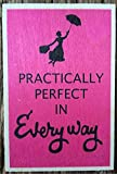 MARY POPPINS PRACTICALLY PERFECT WOODEN POSTCARD QUOTE