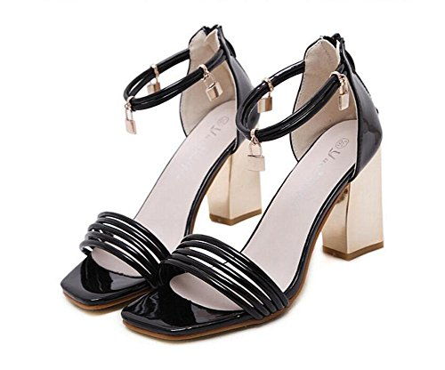 Glter Sommer High Hollow schuhe sandalen Einfache Black toe Head Pumps fersen Frauen Schuhe Open sandalen Square heels court 0r0pw
